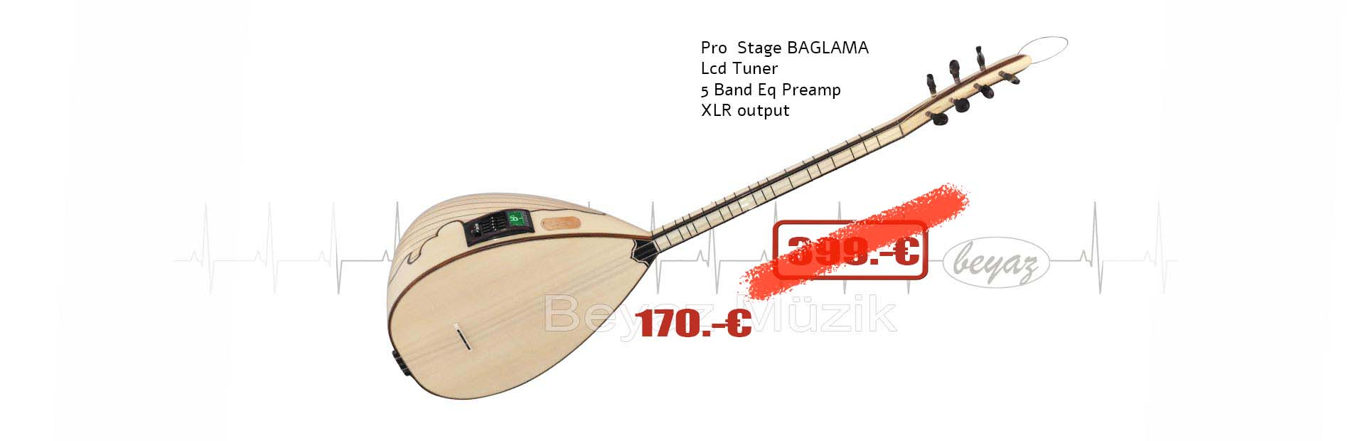 Pro Baglama  Saz LCD Tuner EQ
